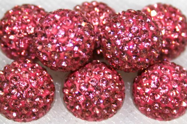 8mm Pink 70 Stone Pave Crystal Beads- 2 Hole PCB08-70-006